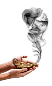 Illustration of smoke coming out of a brass lantern