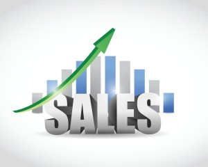 Diagram showing upward trend over the word Sales.