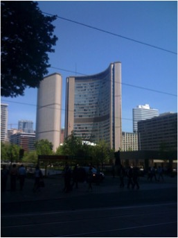 Picture of the Toronto City Hall taken from ground level.