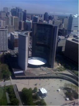 Picture of the Toronto City Hall taken from a much higher vantage point.